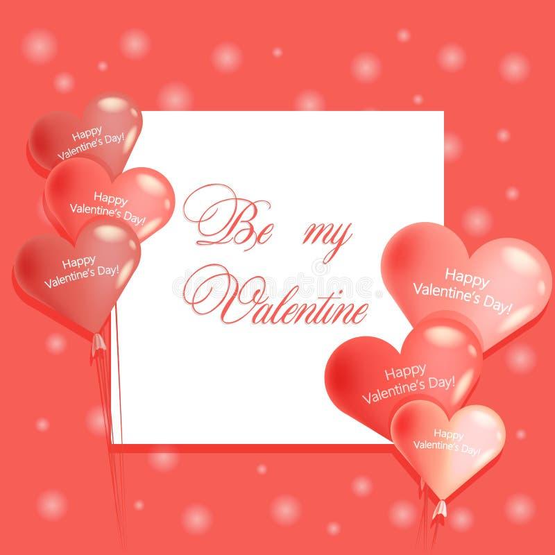 Seien Sie mein Valentine Lettering auf rosa Hintergrund mit den Ballonen lizenzfreie abbildung