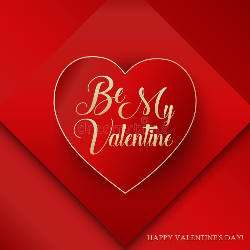 Seien Sie mein Valentine Lettering Happy Valentines Day lizenzfreie abbildung