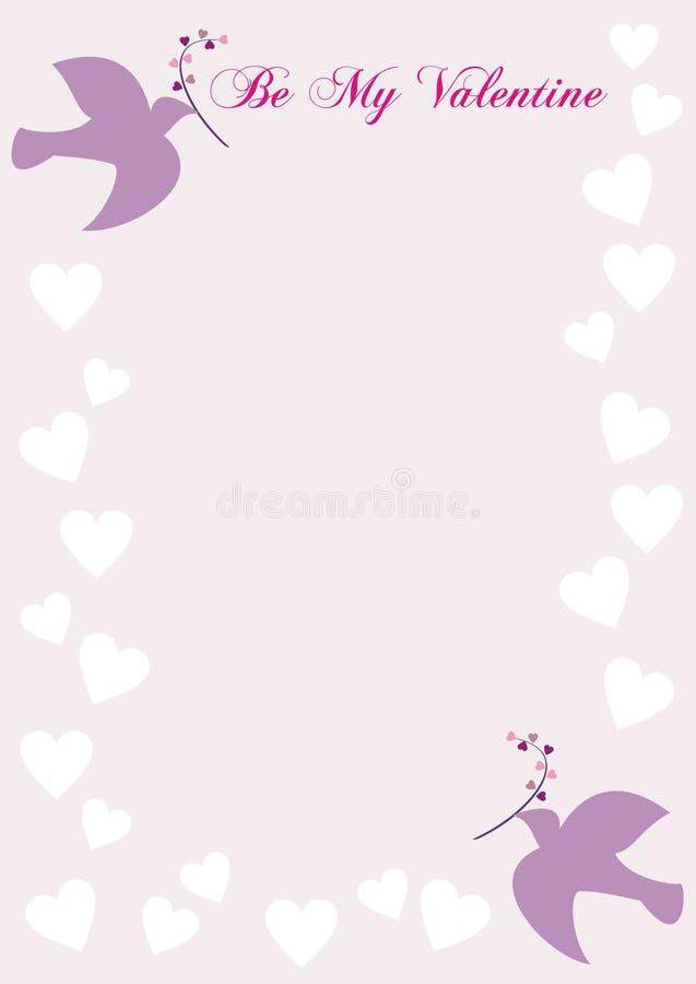 Seien Sie mein Valentinsgruß-Brief mit Tauben vektor abbildung