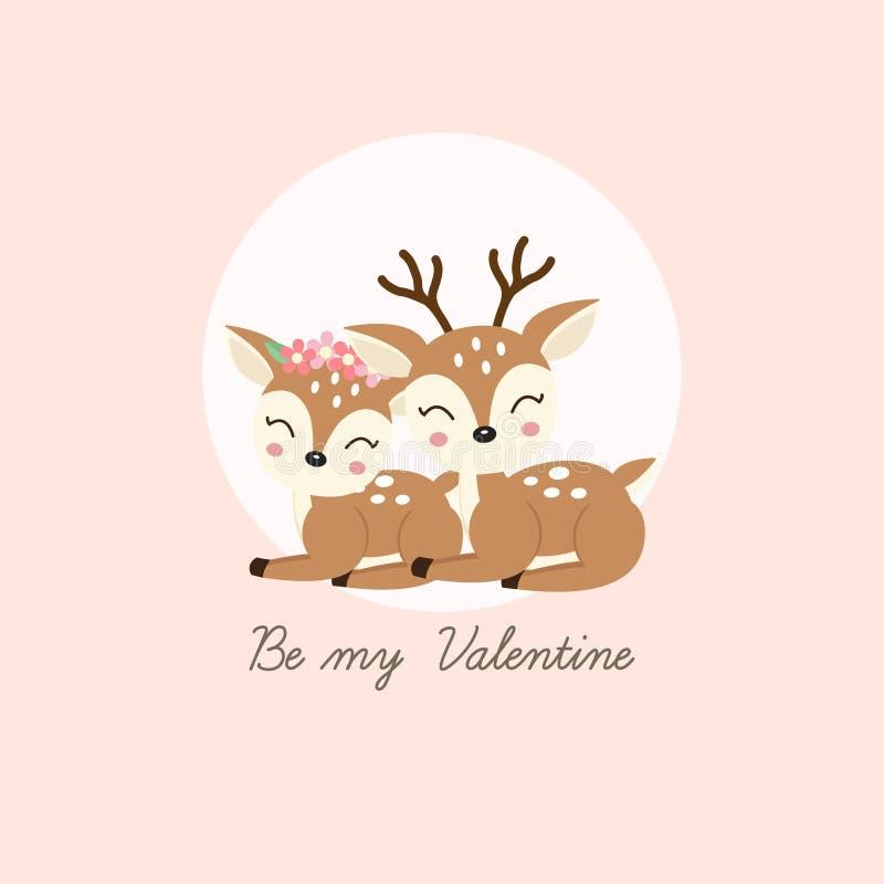 Seien Sie mein Valentinsgruß Nette Paare lieb mit Blumenkrone in Blumen in der Karikaturart lizenzfreie abbildung