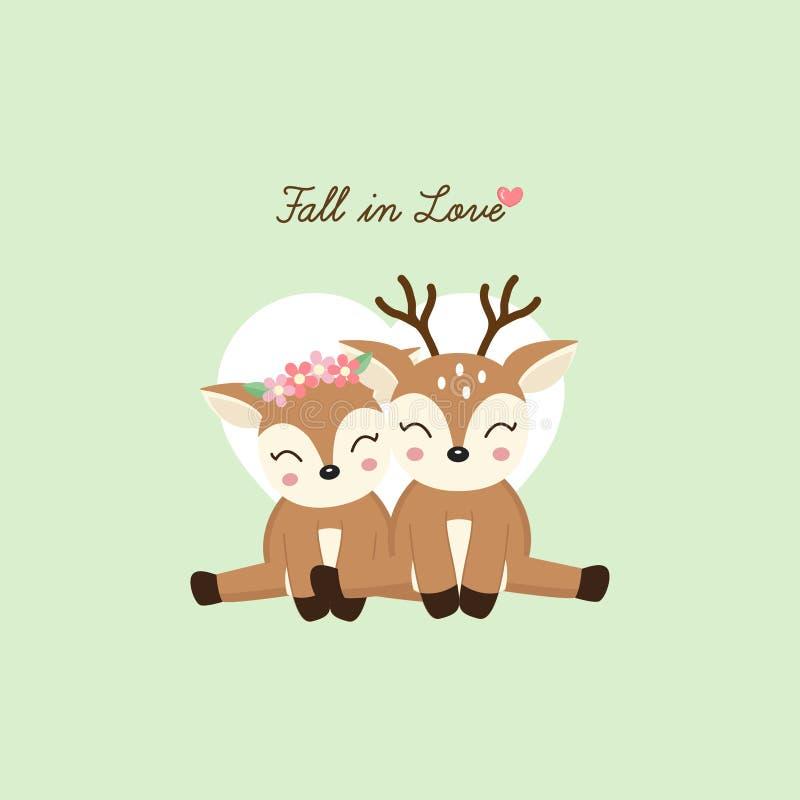 Seien Sie mein Valentinsgruß Nette Paare lieb mit Blumenkrone in Blumen in der Karikaturart stock abbildung