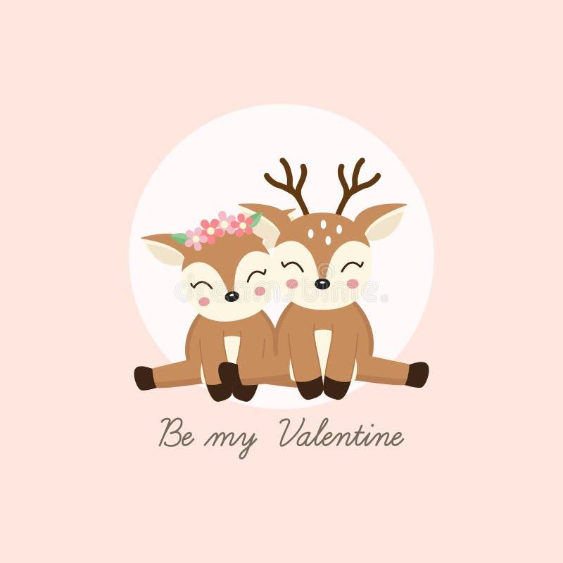 Seien Sie mein Valentinsgruß Nette Paare lieb mit Blumenkrone in Blumen in der Karikaturart vektor abbildung