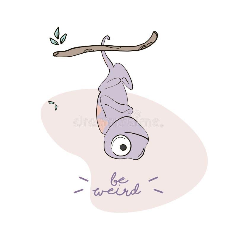 Seien Sie sonderbare Leguanzeichentrickfilm-figur-Illustration Kreative Kinder der Vektoreidechse, die Skizze mit Text zeichnen N stock abbildung