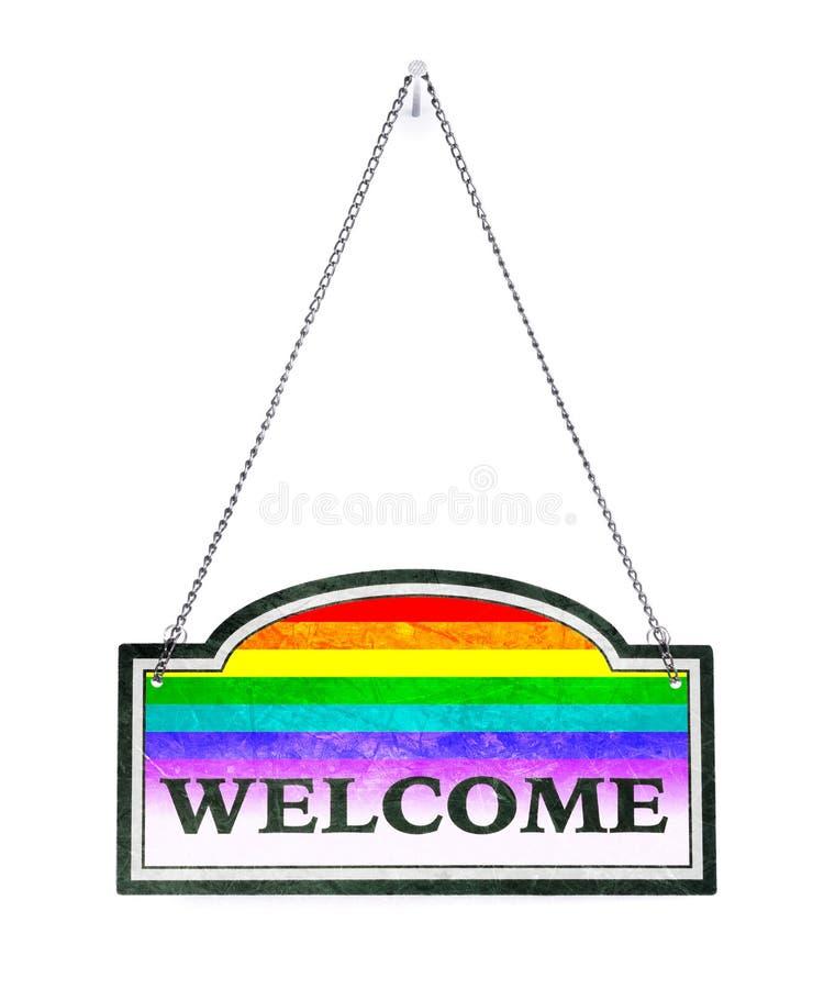 Seien Sie willkommen! Altes Metallschild lokalisiert - Regenbogen-Flagge lizenzfreie abbildung