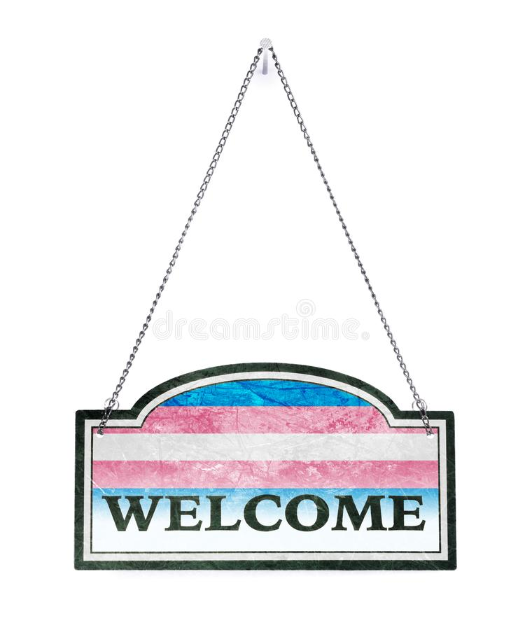 Seien Sie willkommen! Altes Metallschild lokalisiert - Transgenderflagge stock abbildung