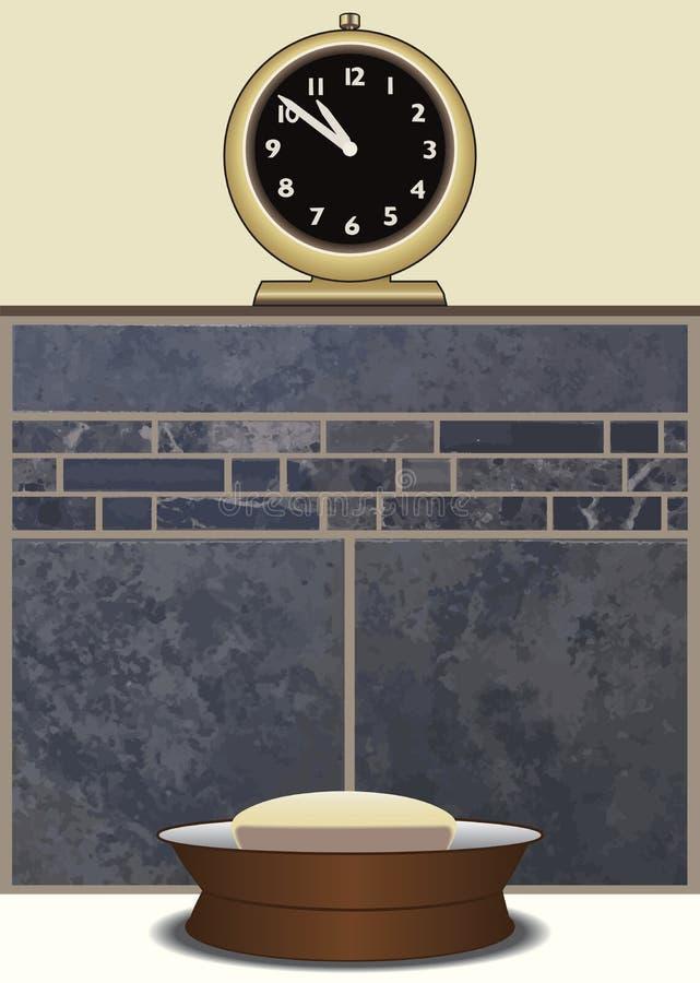 Seifen-Teller mit Uhr stock abbildung