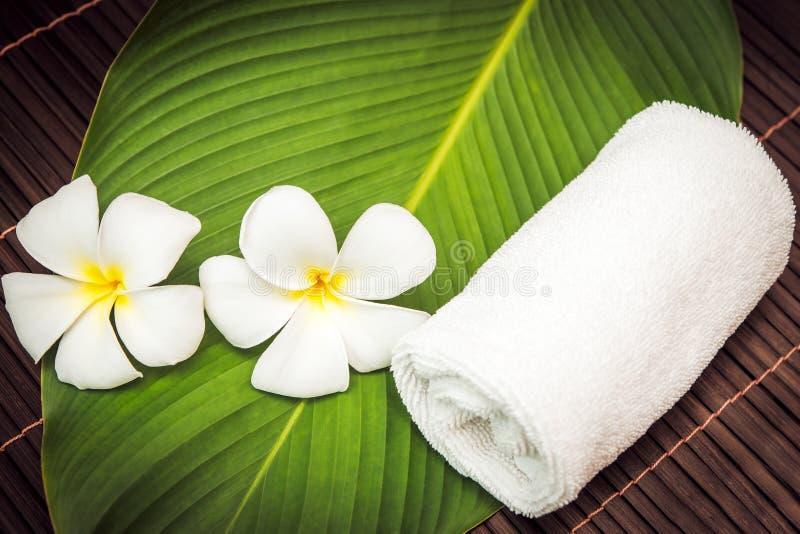 Seifen-, Tuch- und Blumenschneeglöckchen weißes Tuch und Plumeria lizenzfreie stockfotografie