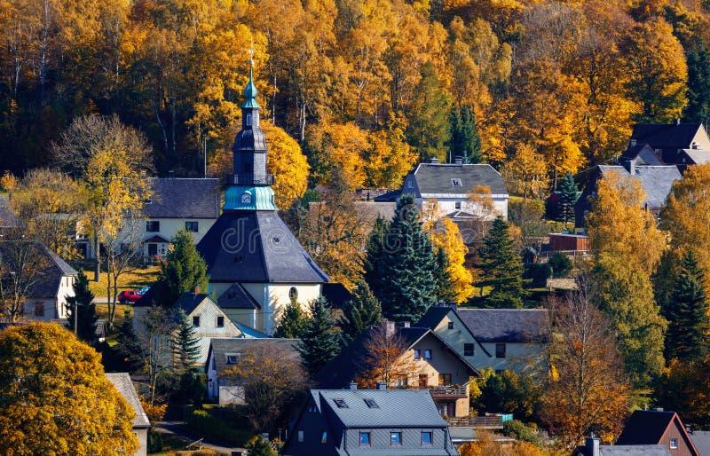 Seiffen-Kirche Sachsen Deutschland im Herbst stockfoto