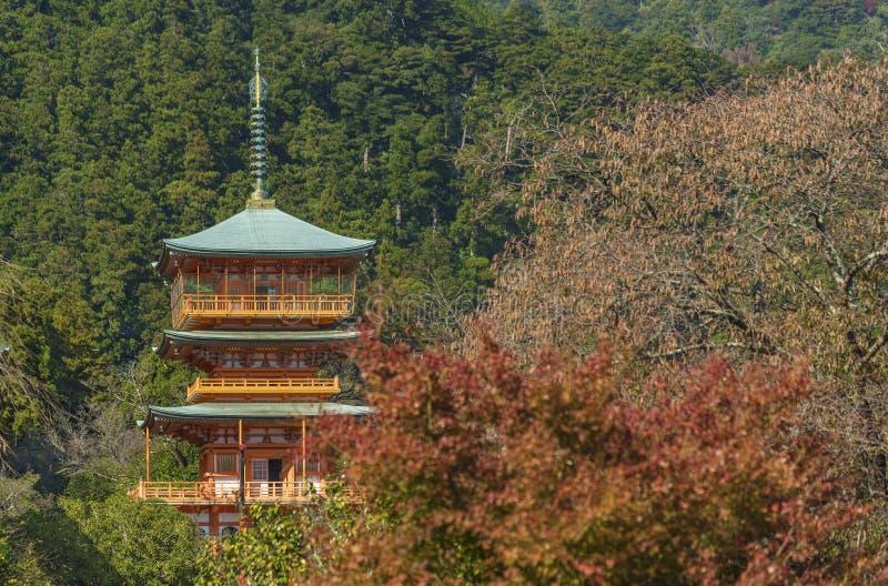 Seiganto籍寺庙塔在Nachi胜浦市,和歌山,日本的 库存照片