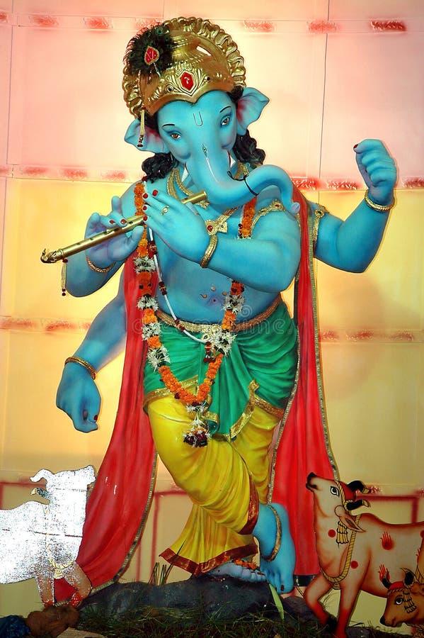 Seigneur Ganesha dans le rôle du krishna photo stock