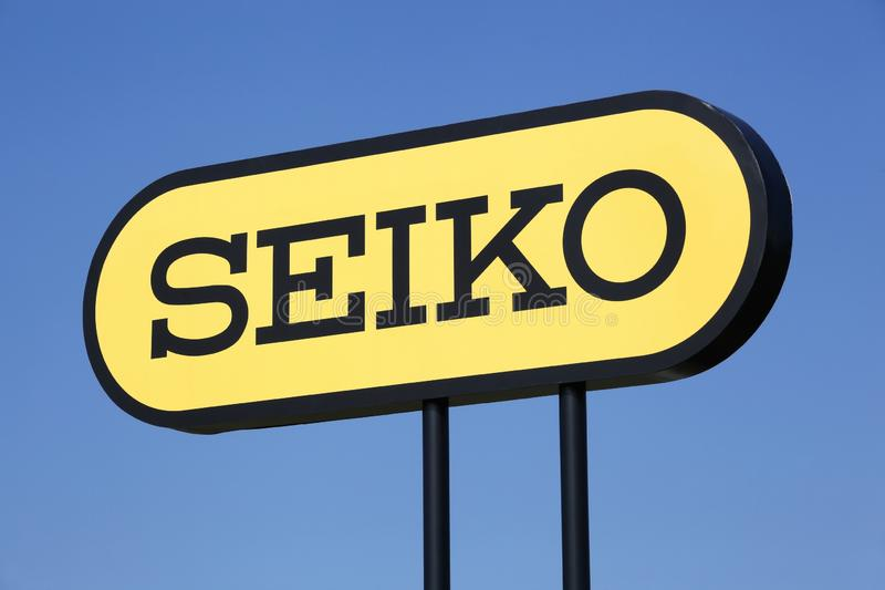 Seiko logo on a panel. Aarhus, Denmark - March 30, 2019: Seiko logo on a panel. Seiko is a Japanese holding company which manufactures and sells watches, clocks royalty free stock images