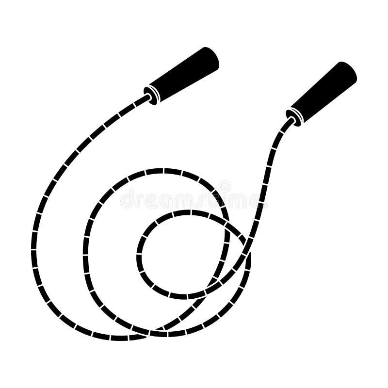 Seil mit Griffen Seilspringenausdauertraining Einzelne Ikone der Turnhalle und des Trainings in der schwarzen Art vector Symbolvo vektor abbildung