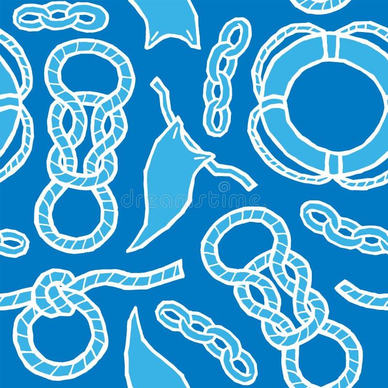Seile, Knoten, Flaggen, Rettungsring - Marinetakelung vektor abbildung