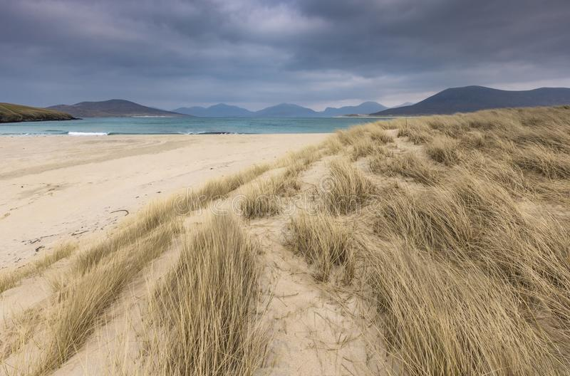 Seilebost beach on the Isle of Harris in Scotland. royalty free stock photo