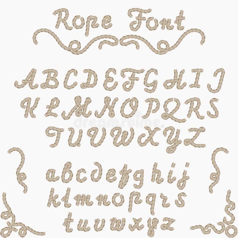 Seilguß, Seehand Briefe geschrieben stock abbildung