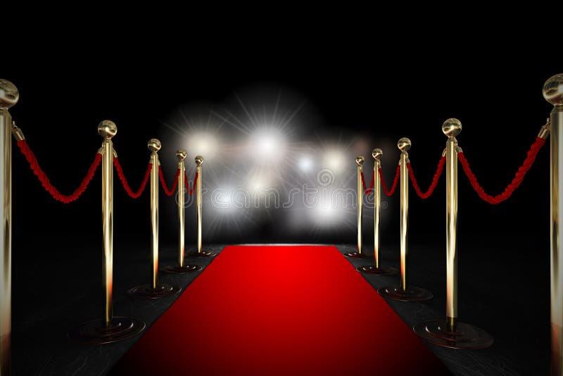 Seilsperre mit rotem Teppich und Blitzlicht stockbild