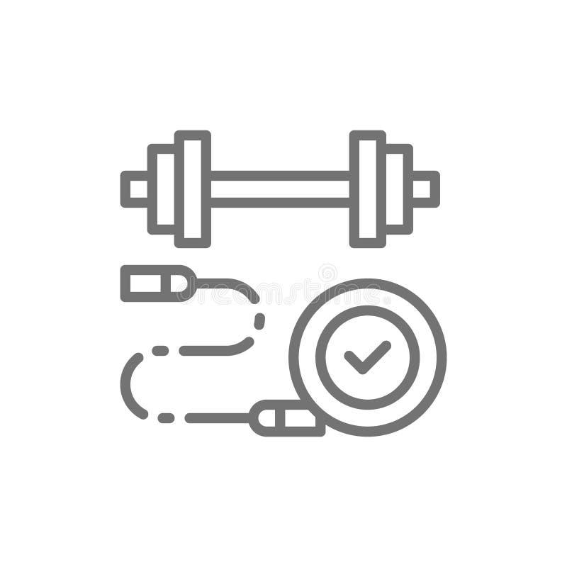 Seilspringen mit Dummkopf, Sport, Aufladungslinie Ikone lizenzfreie abbildung