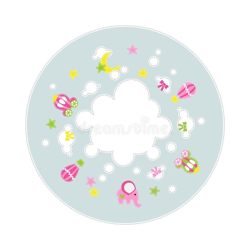 Sein eine Mädchenbabydekoration um Wolke - Sternwagenelefant steigt im Ballon auf - simsen Sie Platz lizenzfreie abbildung