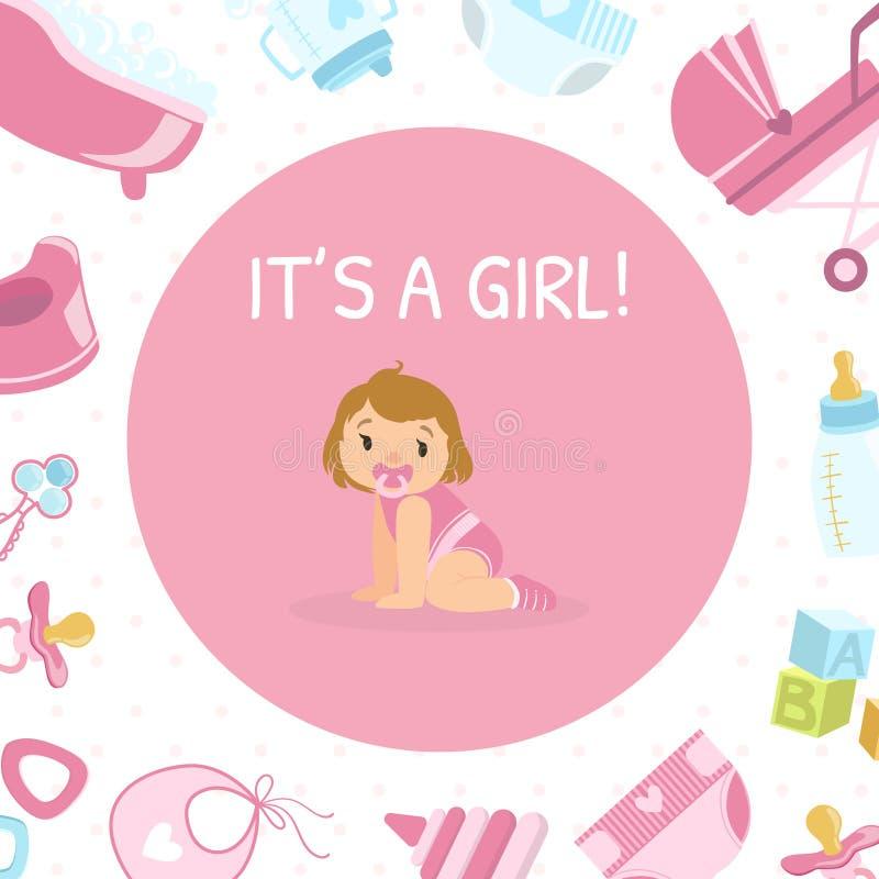 Sein Mädchen, Babyparty-Einladungs-Fahnen-Schablone, rosa Karte mit nettem kleinem Mädchen und neugeborenen Baby-Symbole nahtlos lizenzfreie abbildung