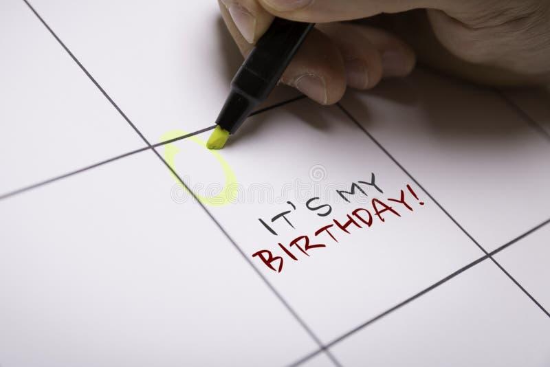 Sein mein Geburtstag auf einem Begriffsbild lizenzfreies stockfoto