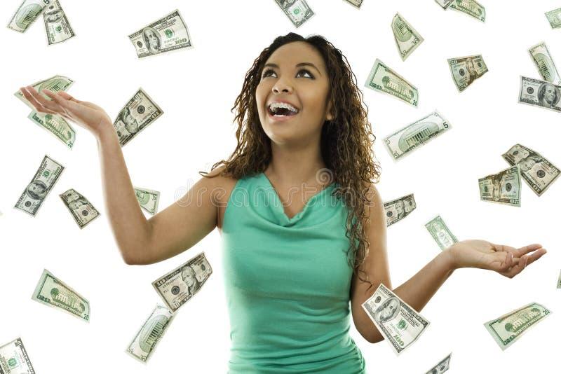 Sein regnendes Geld stockfotografie