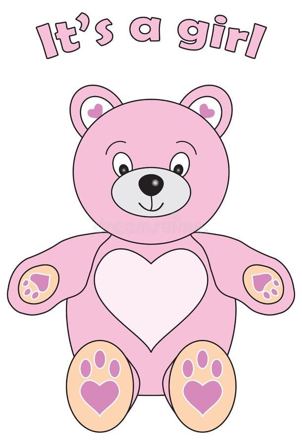 Sein Teddybär ein Mädchen lizenzfreie abbildung