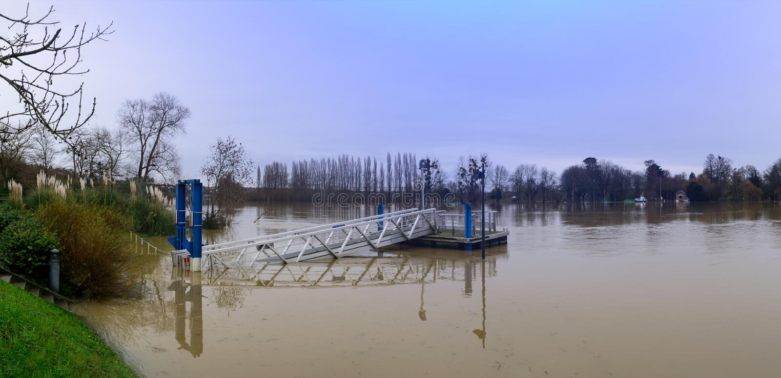 The Seine flooding in the Paris region royalty free stock images