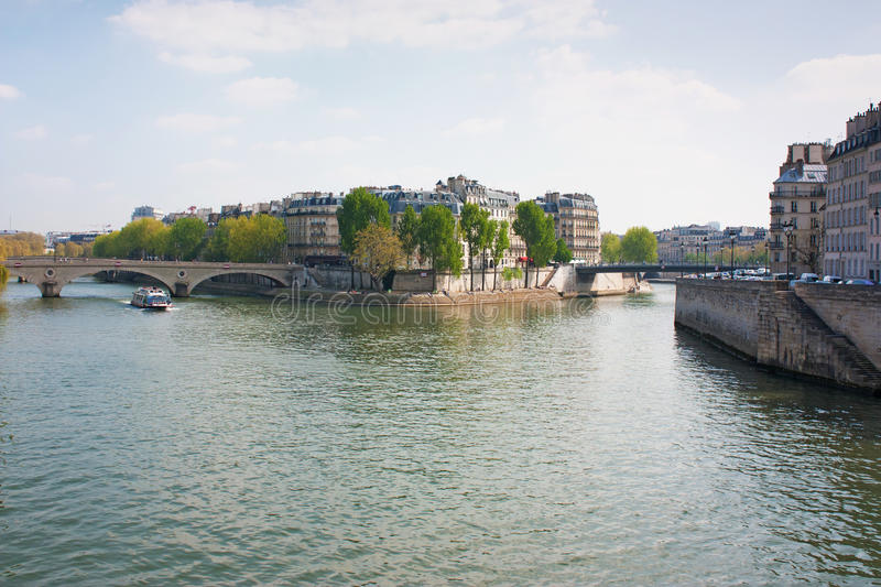 Seine and Ile Saint-Louis. View of Saint-Louis Island in the center of Paris, France royalty free stock photography