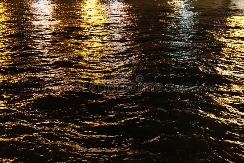 Seine night waters. River Seine waters at night stock photo