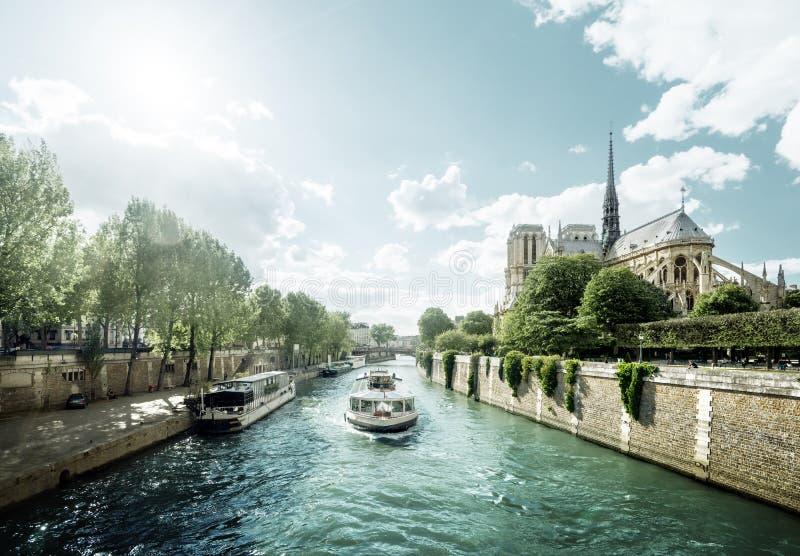 Seine och Notre Dame de Paris, Paris, Frankrike royaltyfria foton