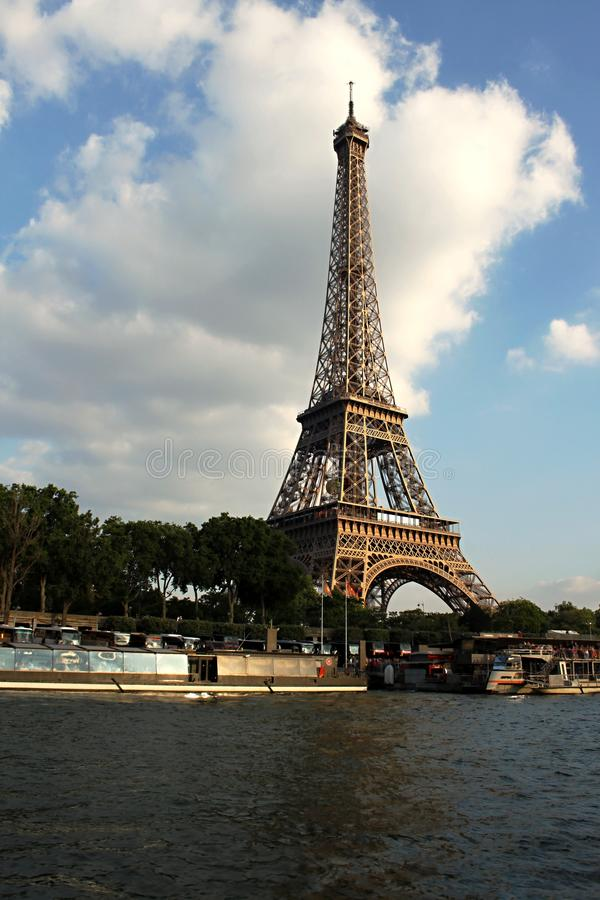 Seine in Paris with Eiffel tower. In sunrise time royalty free stock image