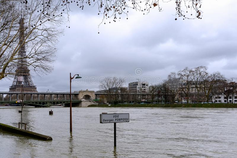 The Seine in Paris in flood royalty free stock image
