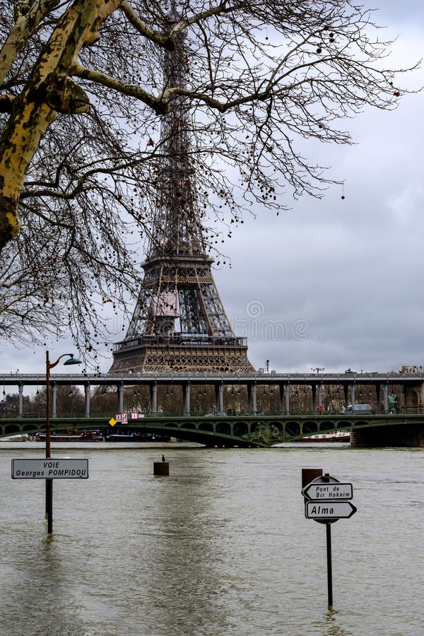 The Seine in Paris in flood stock images