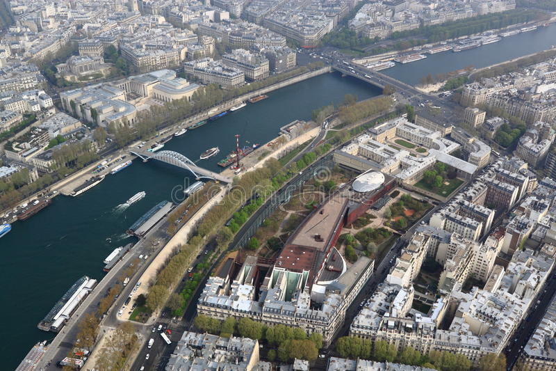 Download Seine River Aerial View stock image. Image of boat, french - 24484661