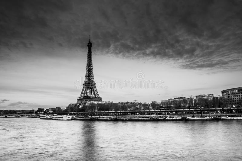 Seine river and Eiffel Tower royalty free stock photography