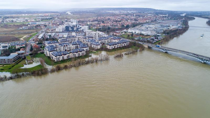 The Seine river floods in Carrieres sous Poissy city. The Seine river flooding in Carriere sous Poissy, Yvelines, France. January 2018 stock photography