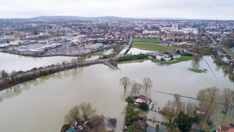 The Seine river floods in Triel sur Seine, January 30 2018. The Seine river flooding in Triel sur Seine city, Yvelines, France royalty free stock image