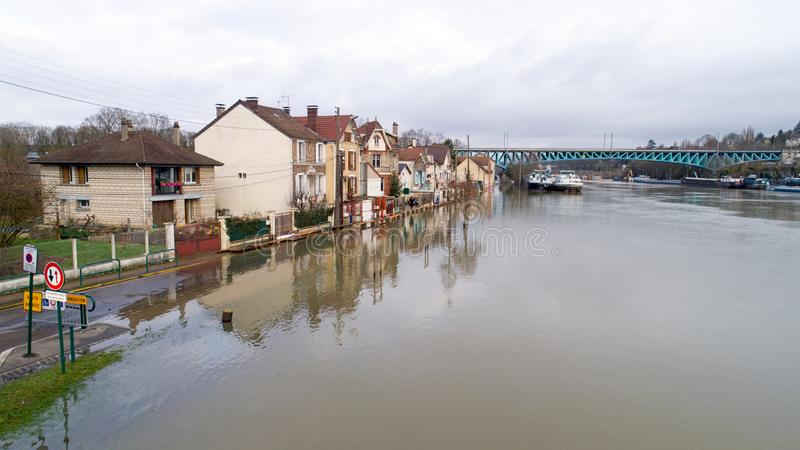 The Seine river floods in Conflans Sainte Honorine, 2018. La Seine river flooding in Conflans Sainte Honorine, Yvelines, France royalty free stock images