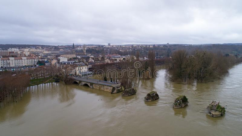 The Seine river floods in Poissy city, January 30 2018. La Seine river flooding in Poissy, Yvelines, France stock photos