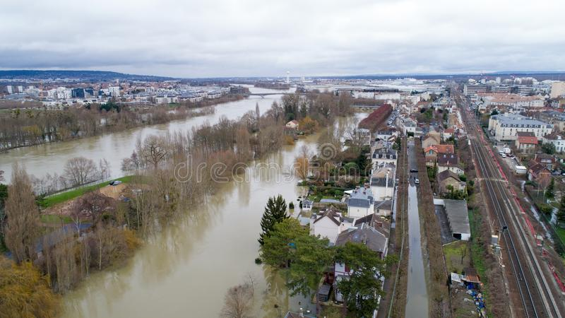 The Seine river floods in Poissy city, January 30 2018. La Seine river flooding in Poissy, Yvelines, France stock photography