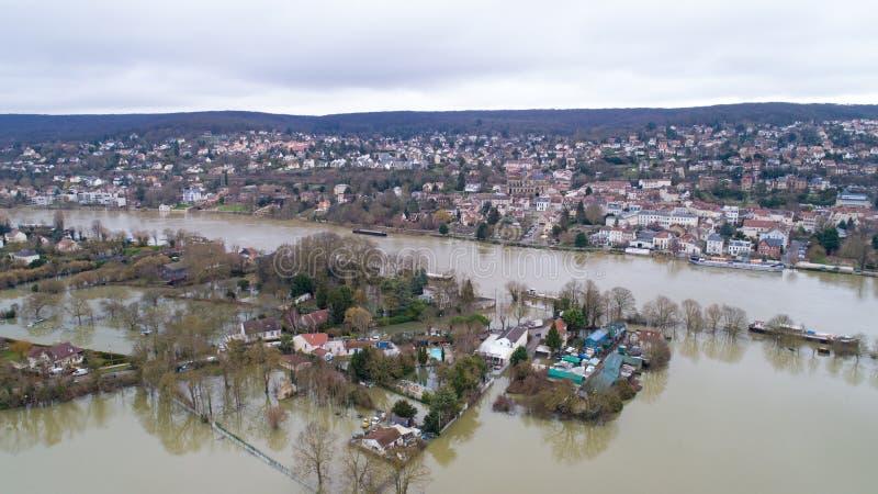 The Seine river floods in Triel sur Seine, January 30 2018. The Seine river flooding in Triel sur Seine city, Yvelines, France stock photo