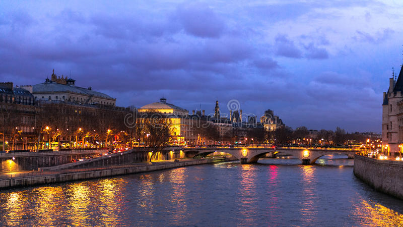 Seine River during Night Time stock image