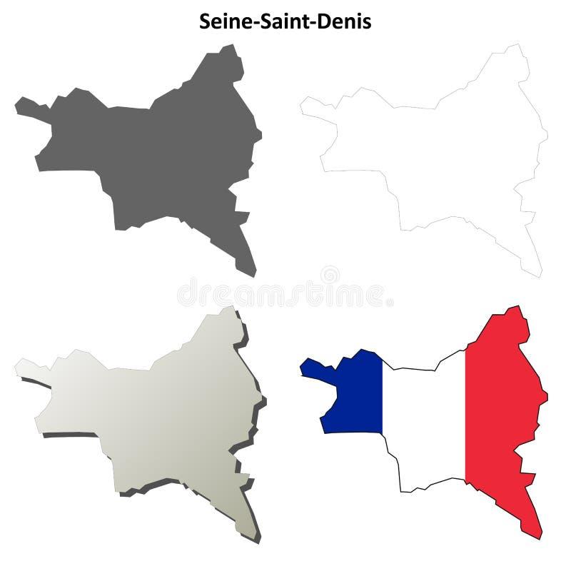 Seine-Saint-Denis, grupo do mapa do esboço do Ile-de-France ilustração stock