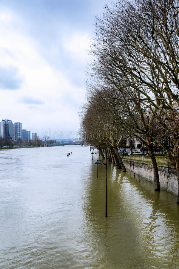Seinen i Paris i flod arkivbild