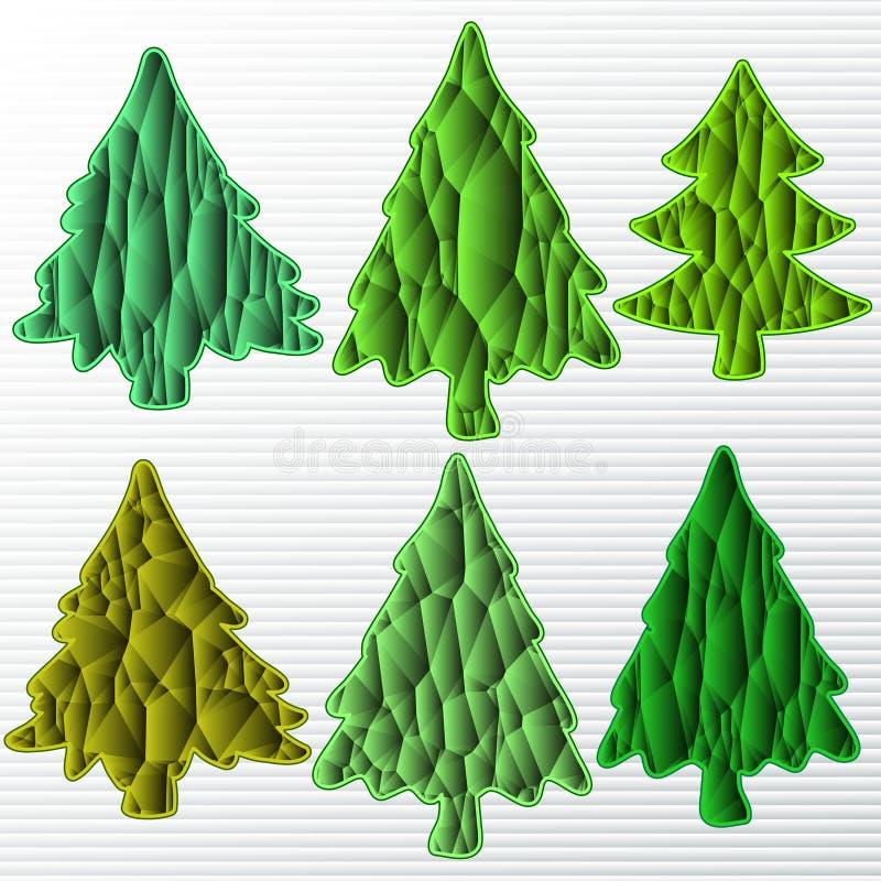 Seis árvores de Natal no grupo ilustração do vetor