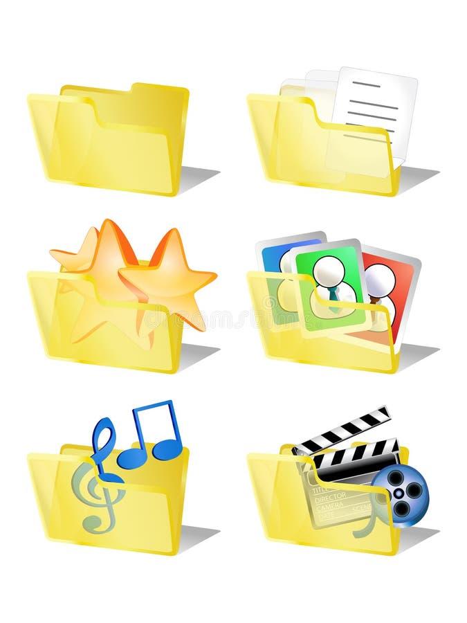 Seis ícones do Internet dos dados do dobrador ilustração stock