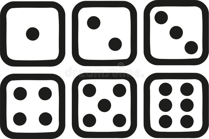 Seis ícones dos dados ilustração stock