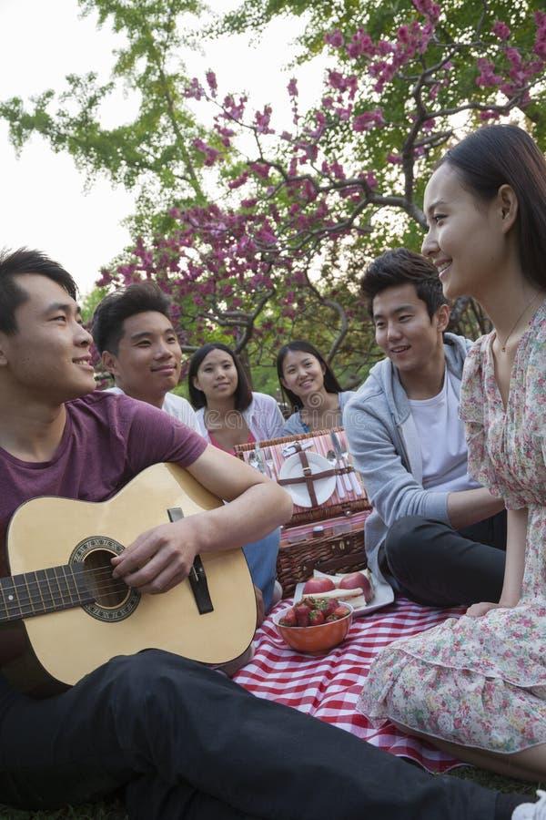 Seis amigos que têm um piquenique e que penduram para fora no parque, jogando a guitarra e a fala fotos de stock