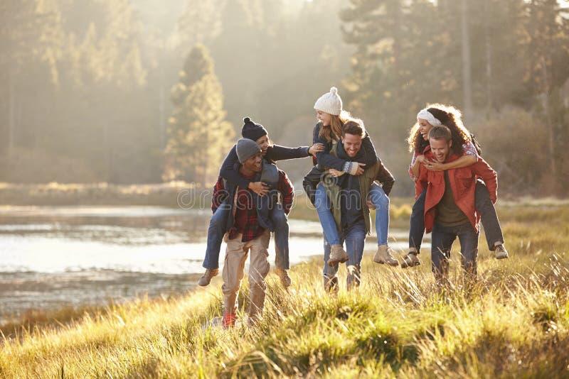 Seis amigos se divierten que llevan a cuestas en el campo por el lago fotos de archivo libres de regalías
