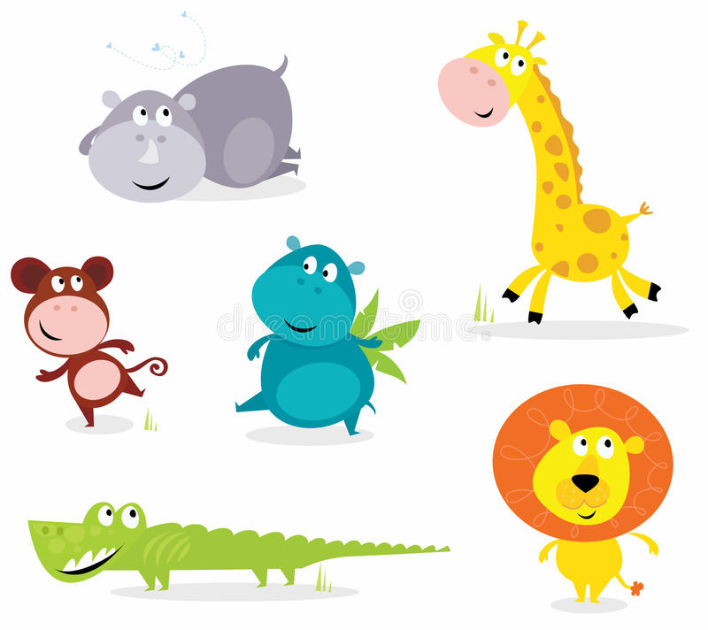 Seis animales lindos del safari - jirafa, croc, rinoceronte? stock de ilustración